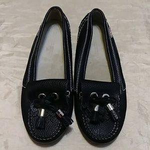 Burberry Vintage Leather Tassel Loafer Flats
